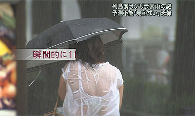【TVお宝画像】当人達は見えようが透けようがそれ所じゃないからね…台風中継の見えまくり女子たちwww
